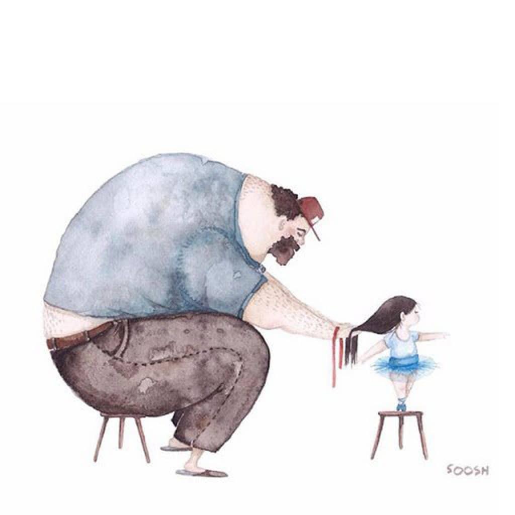 Xúc động trước bộ tranh cha và con gái của họa sĩ Snezhana Soosh